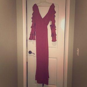 NWT Lulus rust red satin wrap maxi dress